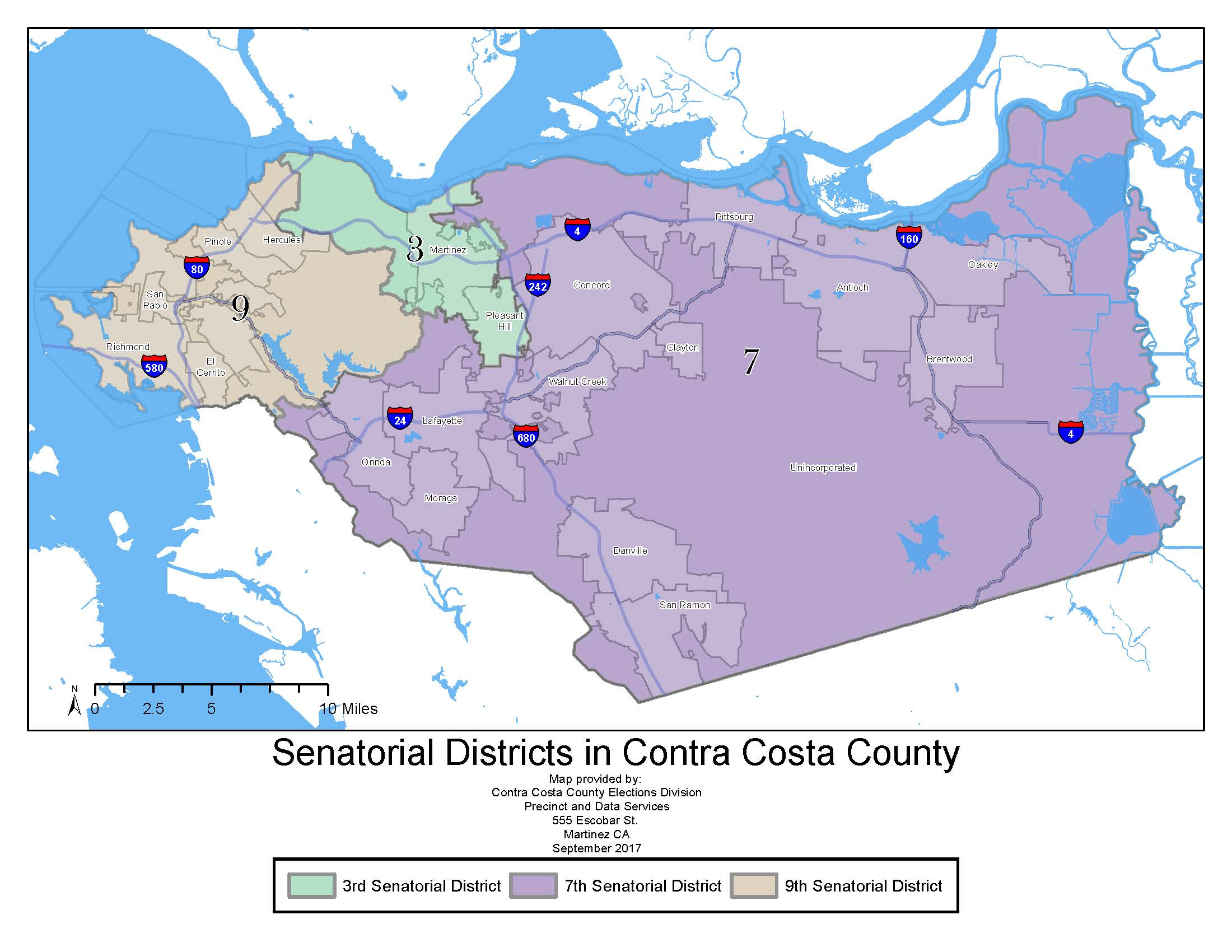 Map of Senatorial Districts in Contra Costa County