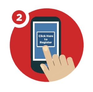 "Hand holding a phone on the screen a button with the following text"" Click here to register"""