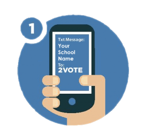 "Icon for Vote 2 Text program. Image displays a hand holding a phone with the message""TxtMessage: Your School Name. To:2VOTE"""