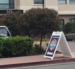 Picture displays the Election Office's front entrance and an Early Voting sign